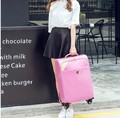 """16""""20""""24 inch leather womans board cabin luggage suitcase black/red/pink trolley bag"""