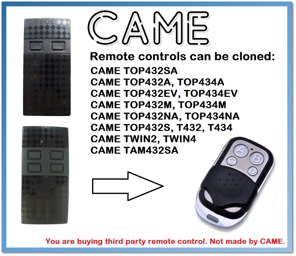 CAME TWIN2, TWIN4 Universal Remote Control Duplicator 4-Channel 433.92MHz (only For 433.92mhz Fixed Code)