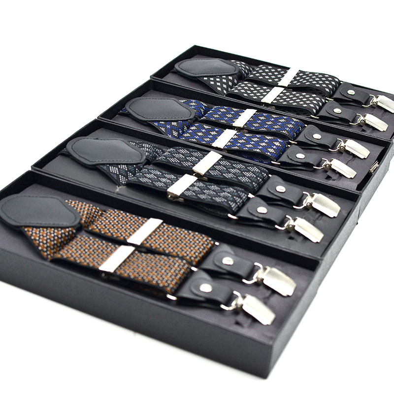 Suspenders For Men Formal Geometric Pattern Type 120cm Length 3.5 Cm Width Seliver 4 Clips Plastic Bag Package
