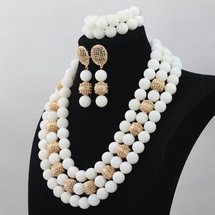 Mode blanc grandes perles Costume bijoux ensemble 14 MM perles de qualité africaine mariage bijoux ensemble pierre naturelle perle livraison gratuite WD510 - 3