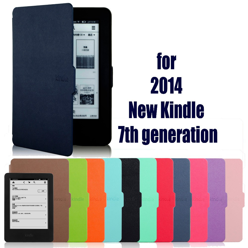 цена на case for amazon new kindle 7 7th Generation 2014 6'' ereader slim protective cover case+film+stylus