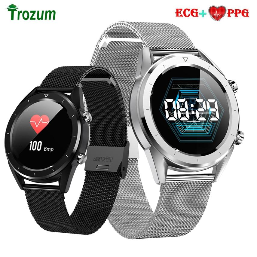 DTNO.1 DT28 reloj inteligente ECG Monitor de ritmo cardíaco resistente al agua hombres de pago Fitness rastreador pulsera inteligente pulsera deportiva pulsera