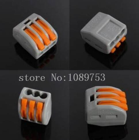 (50 PCS) 32A Spring Lever Push Cable Connector Terminal Block from 3 Way 5 pcs 400v 20a 7 position screw barrier terminal block bar connector replacement