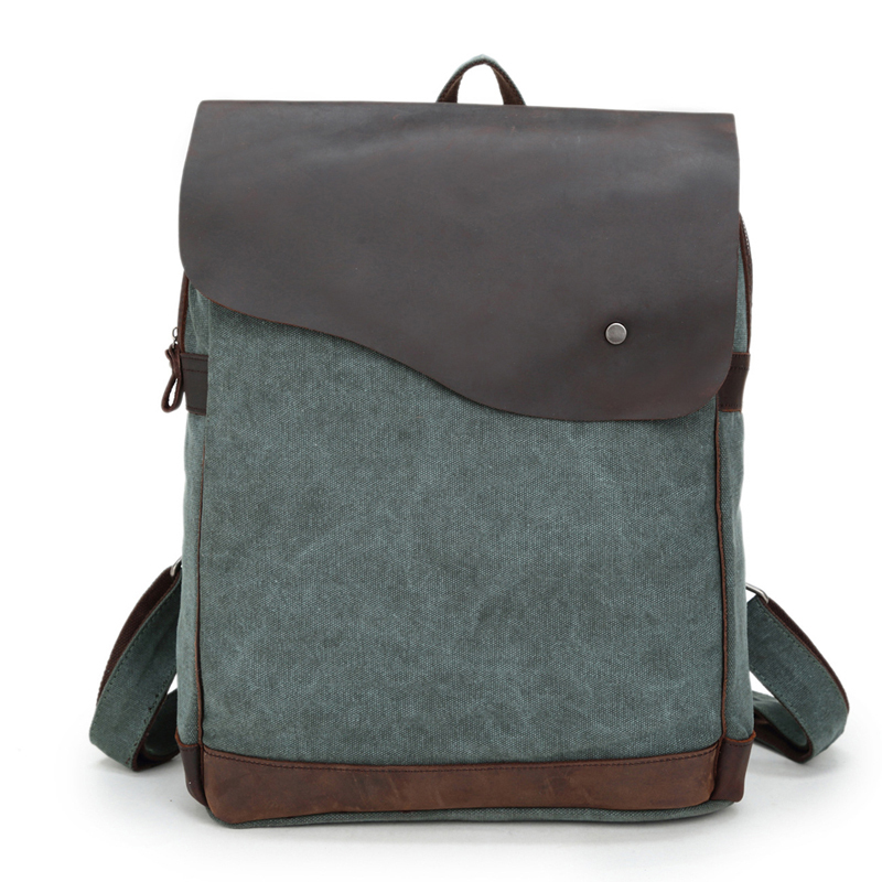 Brand New Retro Genuine Leather&Canvas Men Women Travel Backpack 14 Laptop Notebook School Bag