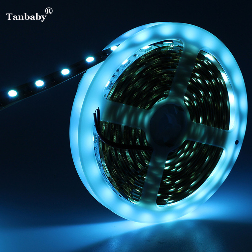 Tanbaby 5M 300LEDs Ice Blue LED Strip Light SMD 5050 DC 12V Flexible Ribbon Tape Nonwaterproof/ Waterproof Indoor Outdoor Deco