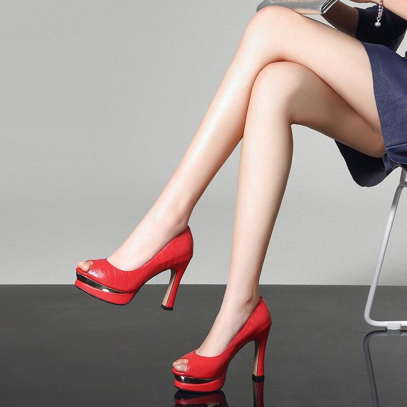 Real Negro Zapatos 2018 Fiesta Toe Verano Ymechic Mujer Alta Roja Plataforma Tacones rojo Peep En Otoño Relieve Cuero De Vestido Ux6xwq8fF