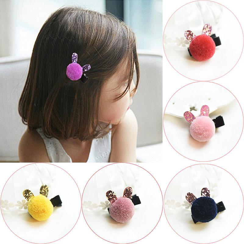1pc Hot Sale Christmas Present Girls Hairclips Cute Little Rabbit Candy Color PomPom Hairpins Children