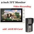 "9"" Color Video Door Phone 16GB SD Card Video Recording Video Intercom Doorphone IR Camera Doorbell Kit for Apartment Security"