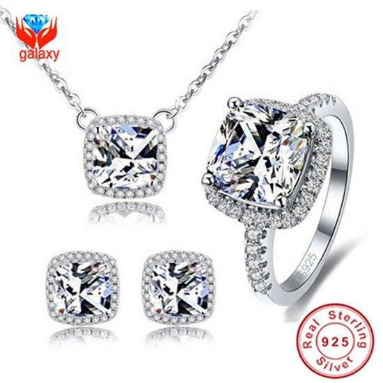 YHAMNI Real 100% 925 Sterling Prata Jóias Conjuntos Com S925 Stamp 3ct CZ Anel de Diamant Colar Brincos Conjunto De Jóias de Noiva YS033