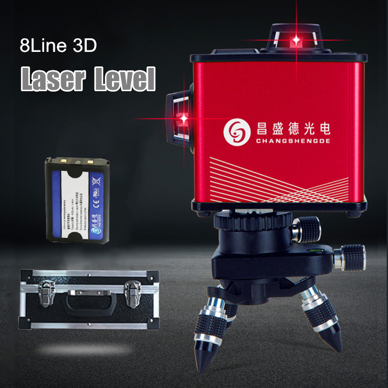 Laser Level 8 Line Auto Self Leveling 360 Degree 3D Rotary Self-Leveling Green Beam Cross Line Measure Tool Stand Bracket aculine ak436 360 degree rotating red beam self leveling cross laser line lightspot