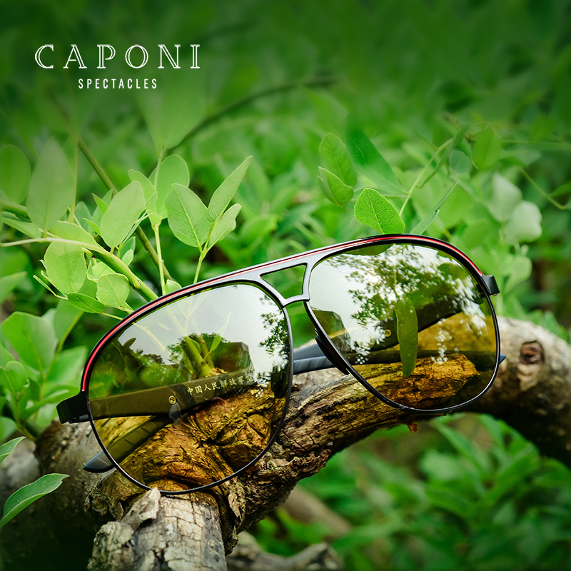 CAPONI Day Night Polarized Sunglasses Fashion Brand Men Ink glasses Against Far