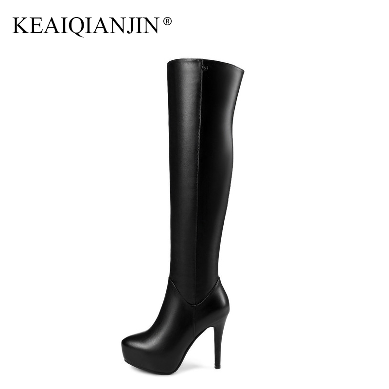 KEAIQIANJIN Black Red Woman High Heeled Shoes Autumn Winter Zipper Knee High Boots Genuine Leather Chelsea Thigh Knee High Boots keaiqianjin black high heeled shoes autumn winter rivet lace up knee high boots woman genuine leather over the knee boots 2018