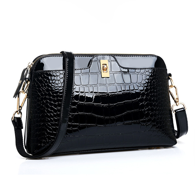 51bc5885e6 BARHEE Brand Crocodile Embossed Women Messenger Bag Patent Leather Women  Handbag Crossbody Shell Bag Switch Lock