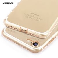For iPhone 7 Case Ultra Thin Protect Camera Case + Dust Plug Transparent Clear TPU Soft Silicone Back Cover For iPhone 7 Plus