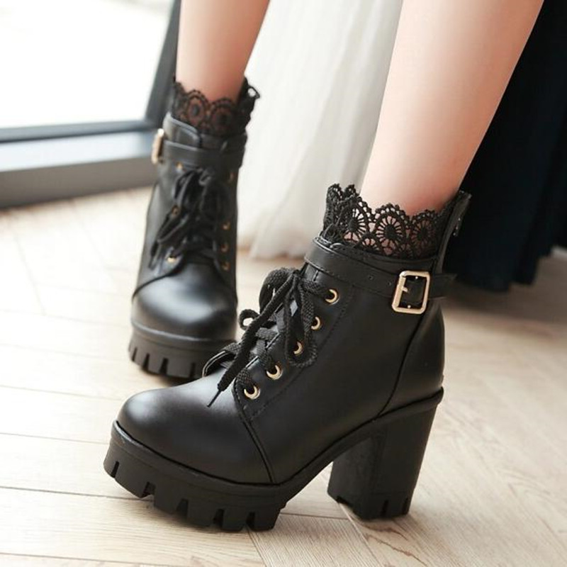 Image 2 - winter New pattern High heeled Coarse heel Martin boots Frenulum Waterproof Thick bottom Large code white Women Boots 34 43-in Ankle Boots from Shoes