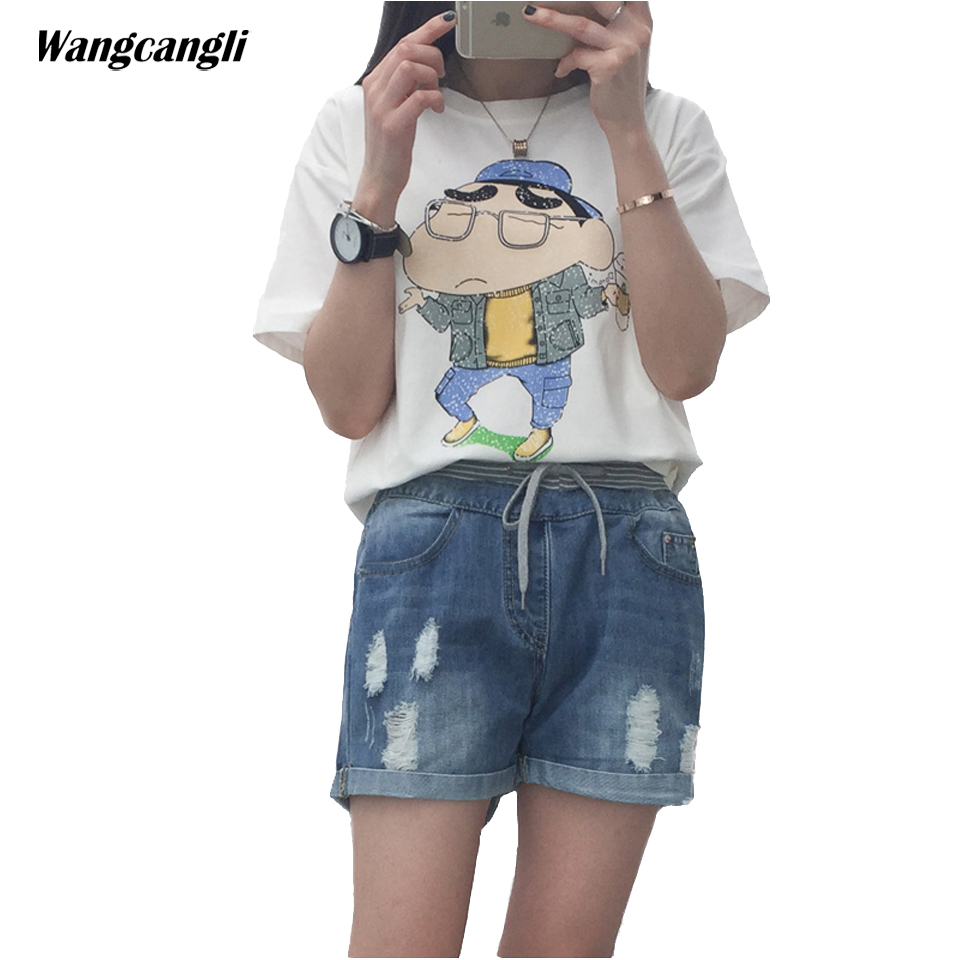 2017short jeans women large size denim shorts female summer pants Light blue elastic waist ripped jeans for women 5XL wangcangli wangcangli jeans women shorts light blue large size denim fat sister elastic waist mid waist jeans moustache effect summer 4xl