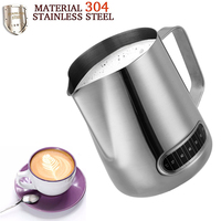 0.6L Smart Thermometer Milk Jugs Coffee Pitcher Stainless Steel Espresso Frothing Jug Cup Pull Flower Coffee Milk Foam Mug Art