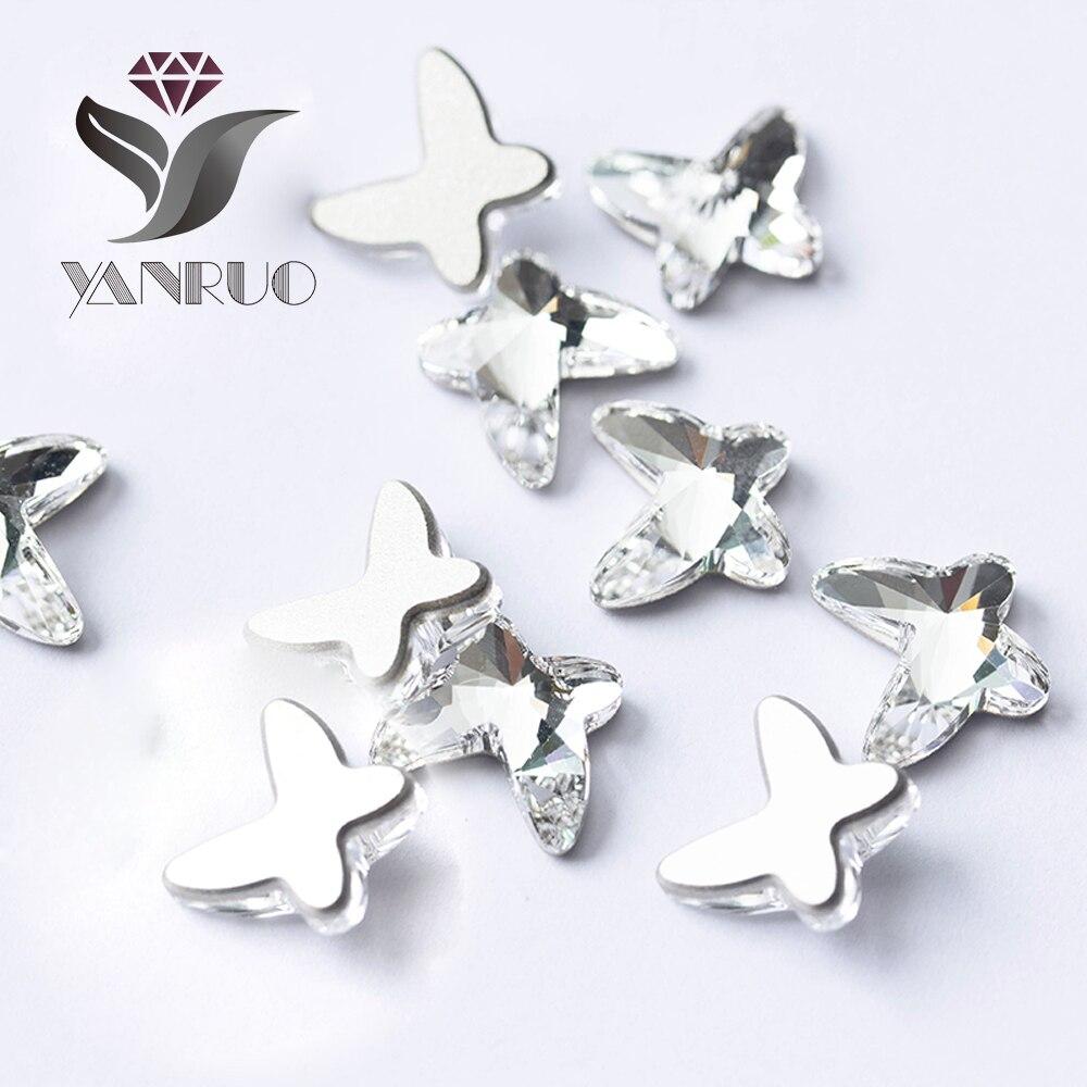 YANRUO 144pcs y 72pcs 5.5X6mm, 8X9mm AB Forma clara de mariposa No - Arte de uñas - foto 6