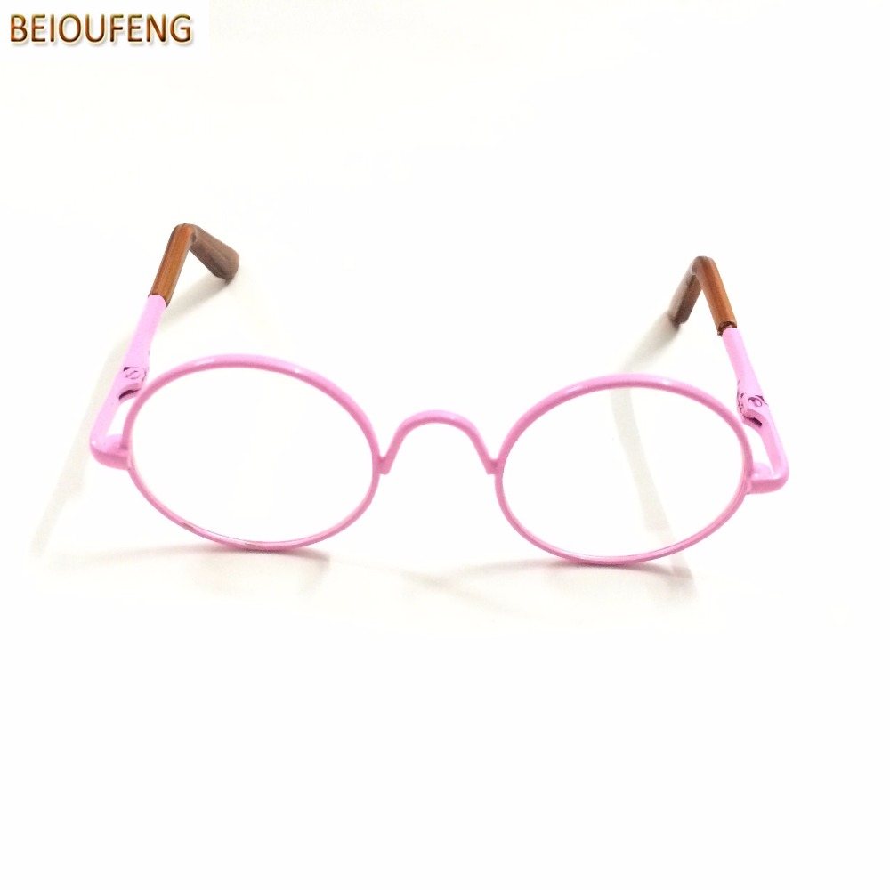 BEIOUFENG 8CM Doll Glasses Round Frame Clear Lens Glasses Eyewear for Dolls,Fashion Doll Accessories Metal Toy Glasses 6 Pcs/Lot
