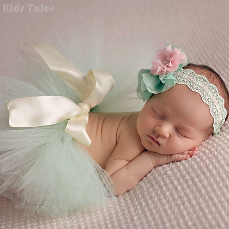 One Set Newborns Costume Baby Cute Tutu Skirts And Flower Headband Photo Photography Prop Clothes And Accessories KYY8010-3
