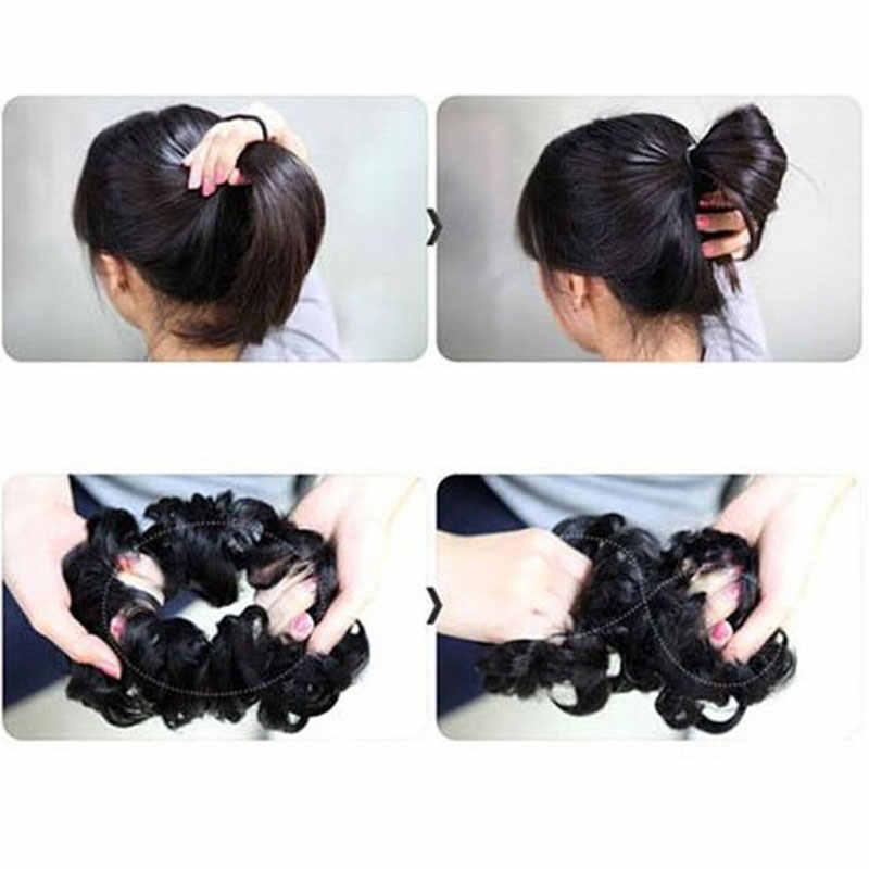Droppshiping Wanita Serut Ekor Kuda Hiasan Kepala Rambut Sintetis Bun Ekstensi Keriting Sanggul Elastis Hairpieces Lady Rambut Bundel