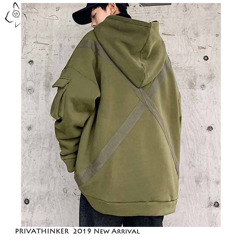 Privathinker 2020 Japanese Hooded Sweatshirt Man Streetwear Casual Solid Tops Autum Big Pocket Oversized Pullover Outdoor