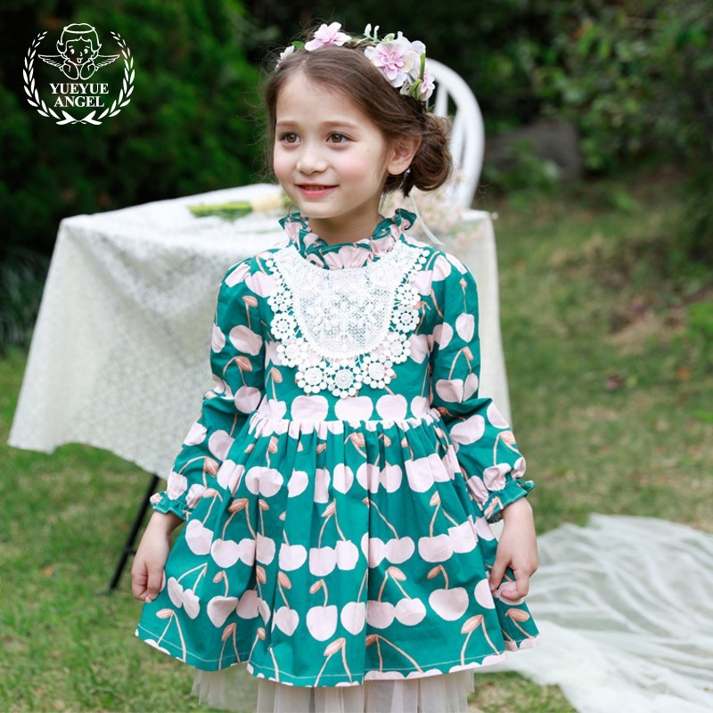 2018 Spring Fashion Princess Girls Dress Printed Floral Pattern Green Ball Gown Robe Mesh Petal Sleeve Ruched Elegant Dresses ruched sleeve dolphin hem floral blouse