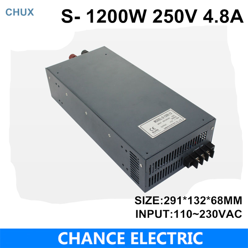 switching power supply 250V 4.8A 1200W 110~220VAC  single output input  for cnc cctv led light(S-1200W-250V) single output switching led power supply 18v 5 5a 100w ac100 240v to dc18v led driver adapter for led strips light cnc cctv