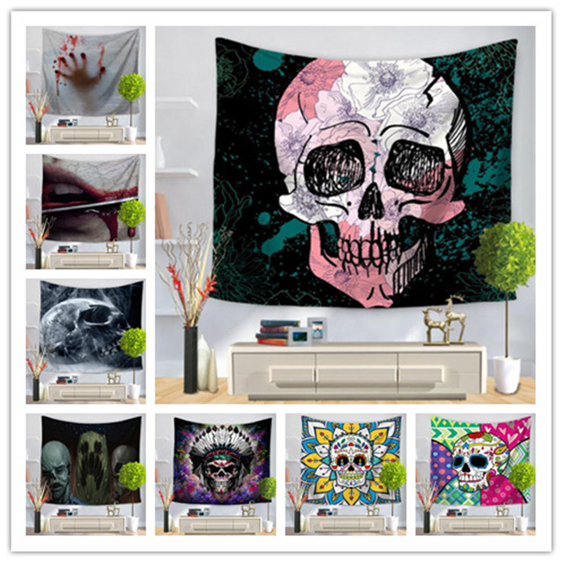 superior performance beautiful in colour hot-selling newest US $7.92 |28 Design skull tapestry bar decoration wall hanging fresco yoga  mat beach towel picnic blanket costume party backdrop-in Party Backdrops ...
