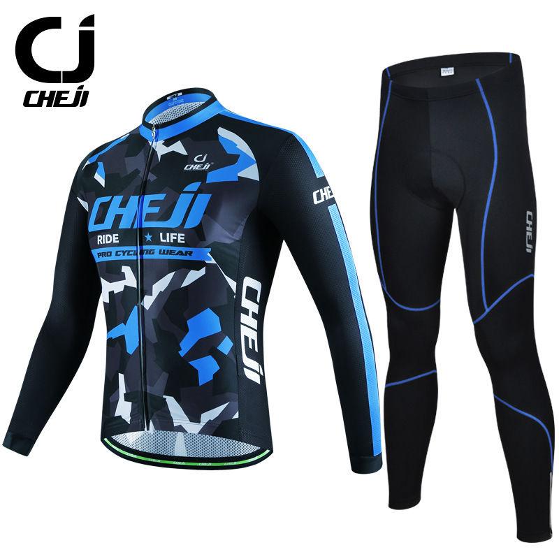 ФОТО Blue Camouflage CHEJI Men's Cycling Wear Bike Jerseys & MTB Trousers / Padded Pants / Tights Set Long Sleeve For Man