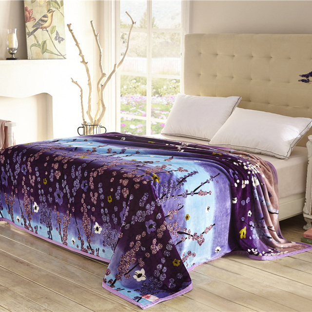 Home Textiles,cool Plum Pattern Blankets For Bed Throw Bedclothes Can Be As Bed  Sheet