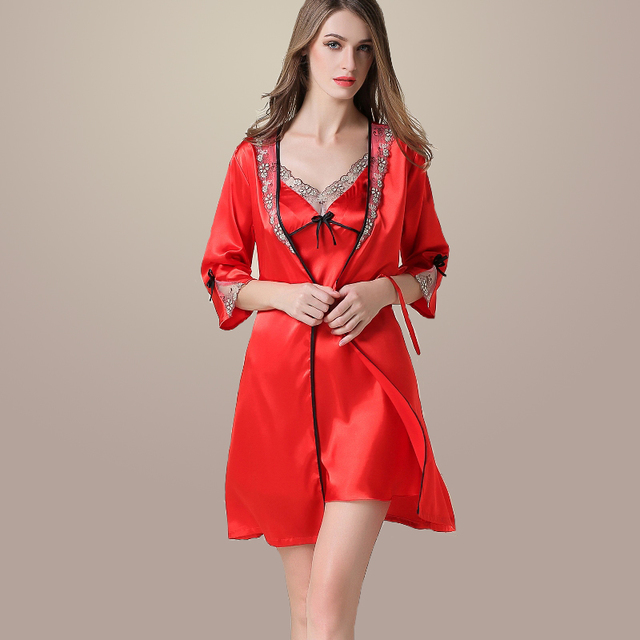 Дамы Сексуальный Атласный Шелк Ночь Платье Из Двух Частей Костюм V-образным Вырезом Ночной Рубашке Плюс Размер Ночная Рубашка Кружева Пижамы Пижамы Женские Пижамы