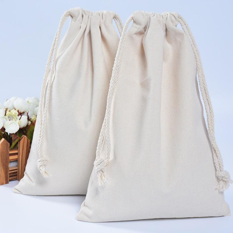 DIY Handmade  Men Women Travel Packing Organizer Reusable Multi-purpose Pouch Cotton Canvas Drawstring Small Gift Bags For Girls