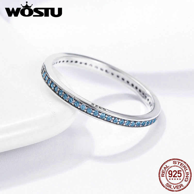 WOSTU แท้ 925 เงินสเตอร์ลิง BlueCubic Zirconia การออกแบบ Minimalist Simple Stackable แหวนสำหรับผู้หญิง BKR229
