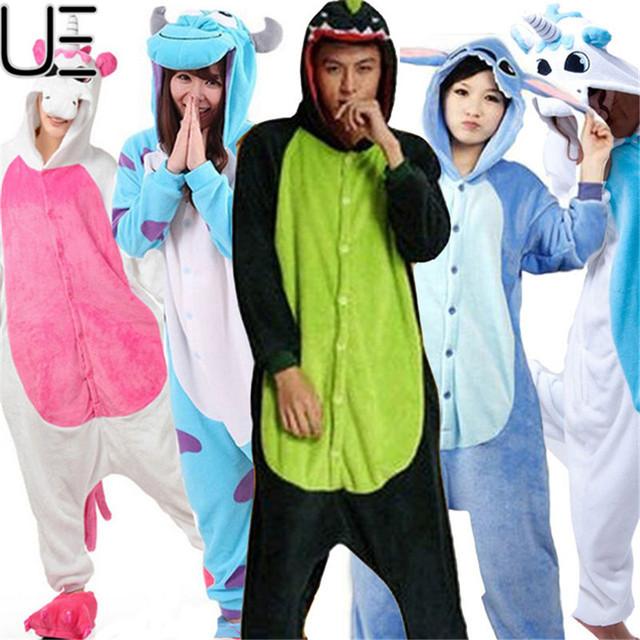Navidad Otoño e Invierno Pijama de Dibujos Animados Mujeres Ropa de Dormir Pijamas Animal Pijama de Franela Puntada Panda Onesie Unicornio