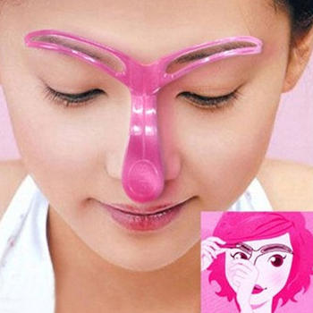 1PC Pink Eyebrow Stencil Shaping Grooming Eye Brow Makeup Template Reusable Design Eyebrows Make Up Model Cosmestic Tool