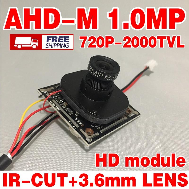 2000tvl ahdm 720P Finished Monitor mini hdcamera chip module surveillance products 1.0Mp IR 3.6m LENs cable micro circuit board euro mini tcc 2000