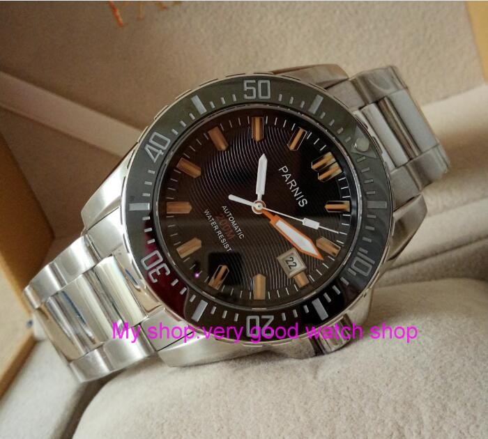 Parnis 43mm cadran Noir Saphir cristal en verre étanche Japonais automatique mouvement mécanique hommes de montre Mécanique montres
