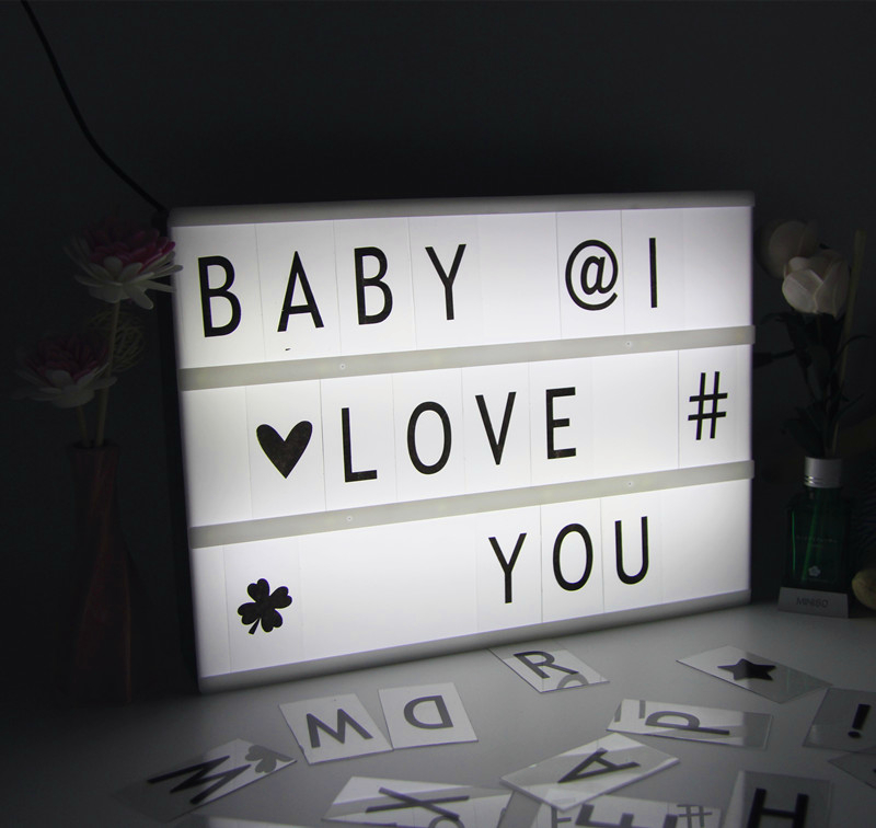 Acrylic LED Cinema Lightbox Night Light Three Line Battery/DC Round Port Energized Mode Letters DIY Art Home Wedding Party Light 2018 new led combination light box night lights lamp diy black and white letters cards usb port powered cinema lightbox letters