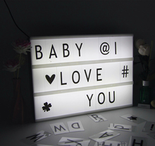 Acrylic LED Cinema Lightbox Night Light Three Line Battery/DC Round Port Energized Mode Letters DIY Art Home Wedding Party Light