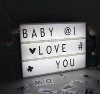 Cinema lightbox acrilico led luce di notte tre linea di batteria/dc porto rotondo eccitato modalità lettere diy di arte casa di nozze luce del partito