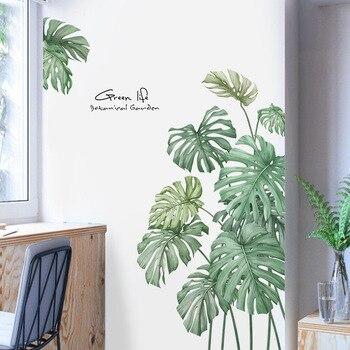 Etiqueta engomada de la pared de las plantas de la hoja de tortuga del estilo nórdico de la vida verde para la decoración de la pared de la puerta del refrigerador de la sala de estar