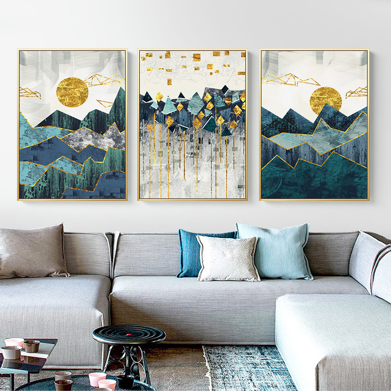 Geometric Mountain Landscape Canvas Painting 33