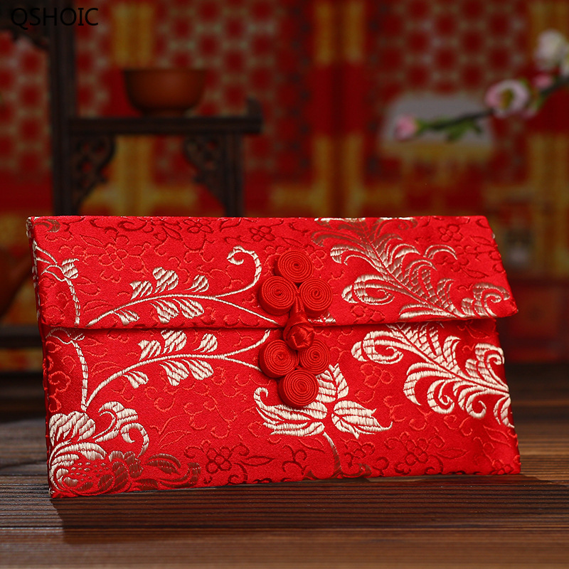 Chinese Style Wedding Party Red Envelopes Novelty Handmade Button Women Handbag Vintage Wallet Purse Marriage Supplies Props Women's Accessories