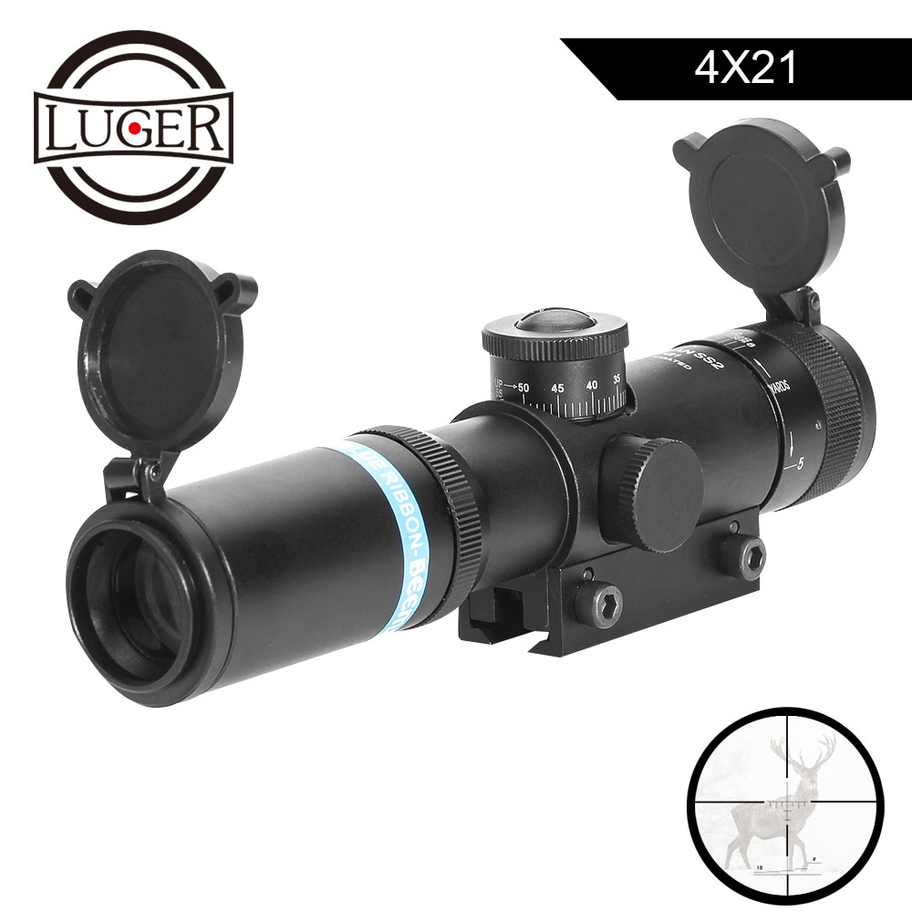 LUGER 4x21 AO Hunting Scope Glass Etched Reticle Riflescopes With 11mm Rail Tactical Optical Sight Air Gun Rifle Scope