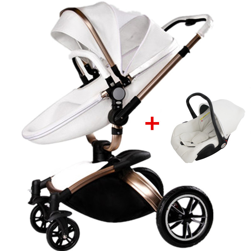 On Sale, High-view, Best Quality, Leather, Baby Stroller Whole Set, Super Suspension, Two Directions, Folding, Sit & Lie Down.