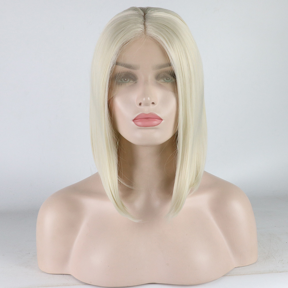 Marquesha Natural Looking Half Hand Tied Heat Resistant Fiber Platinum Blonde Synthetic Bob Lace Front Wig For Women