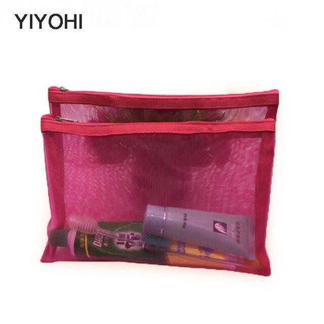 Yiyohi Travel Cosmetic Bag Women Fashion Black Mesh Zipper Makeup Case Animal Make Up Bags Organizer