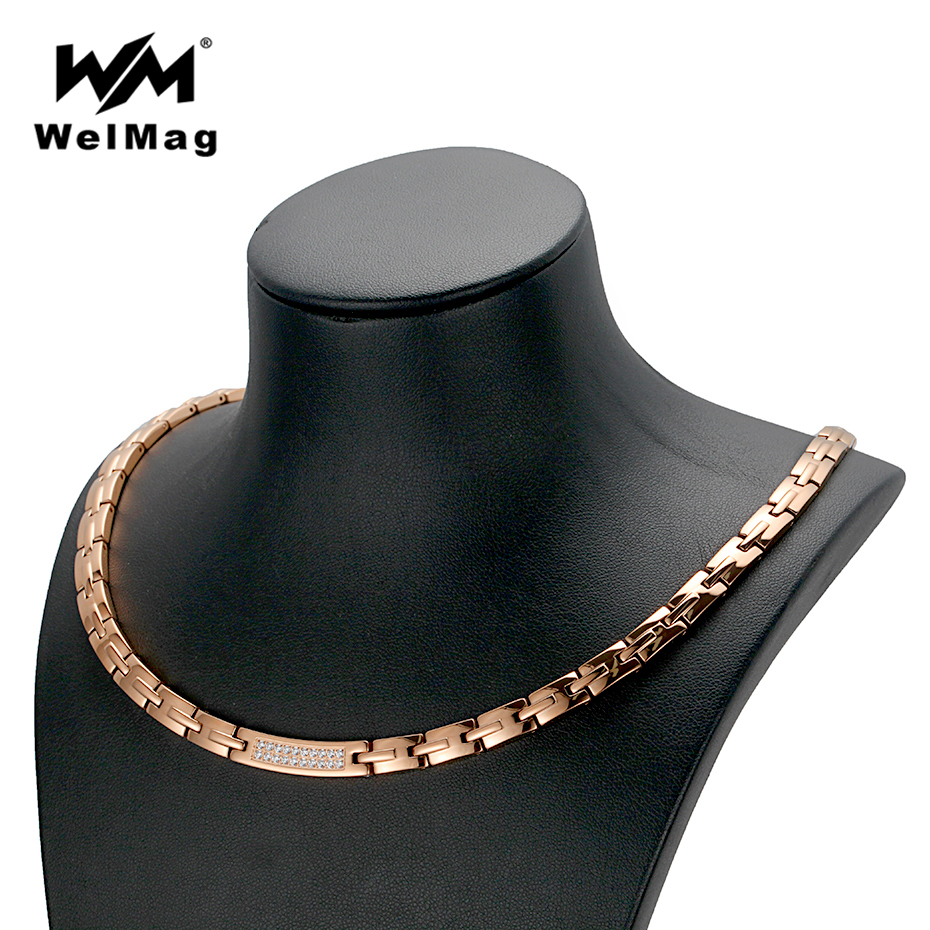 WelMag Dropshipping Rose Gold Necklace Women's Crystal Jewelry Stainless Steel Blood Pressure Hematite Magnetic Necklaces New dropshipping fashion stainless steel rose gold
