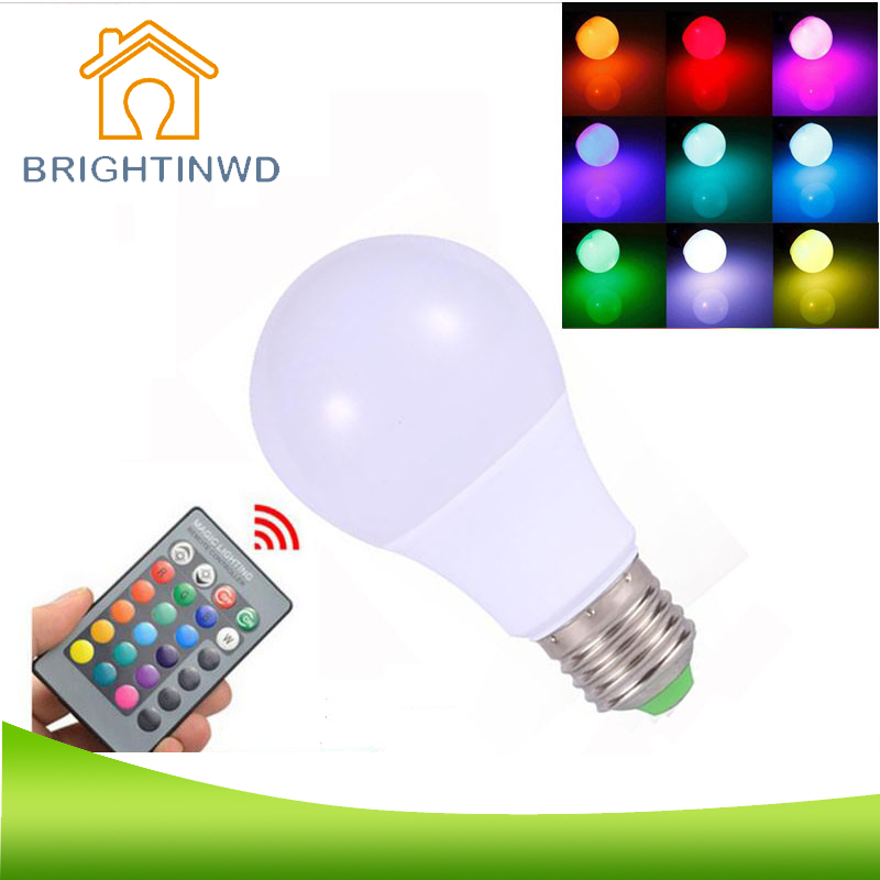 BRIGHTINWD RGB LED Lamp 3W-10W 85-265V E27 LED RGB Light Bulb High Power Lampada LED Holiday Magic Lighting+IR Remote Controller 3w led rgb high power led lamp bulbs rgb six legs 350ma 3 2 3 4v taiwan genesis hpo chips free shipping